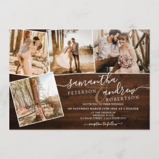Rustic brown wood winter script 5 photos wedding invitation