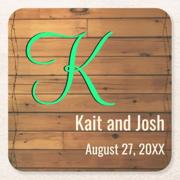 Beach Themed Rustic Brown Wooden Barn Wall Farm Monogram Square Paper Coaster
