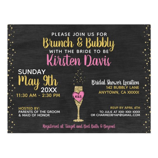 Rustic Brunch And Bubbly Bridal Shower Invitation Postcard