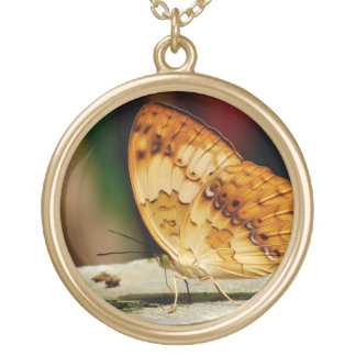 Rustic Brush Footed Butterfly Round Pendant Necklace
