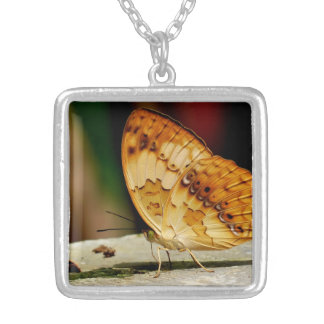 Rustic Brush Footed Butterfly Square Pendant Necklace