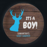 "Rustic Buck Deer Wood IT&#39;S A BOY Baby Shower Paper Paper Plate<br><div class=""desc"">Custom / personalized unique baby shower paper plates with rustic buck deer wood theme.  It&#39;s a Boy letters.  Blue and white colors. Editable template paper plates - just add your text! Get matching napkins,  invitations and stickers!</div>"