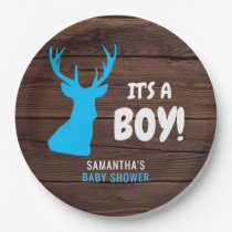 Rustic Buck Deer Wood IT'S A BOY Baby Shower Paper Paper Plate