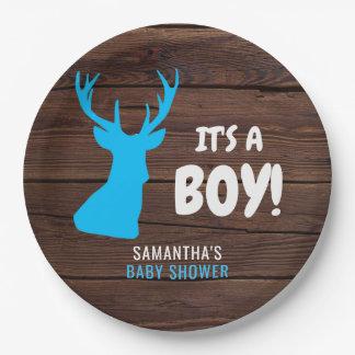 Rustic Buck Deer Wood IT'S A BOY Baby Shower Paper Paper Plate