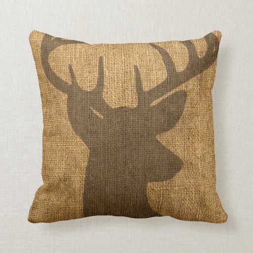 Rustic Buck Silhouette Throw Pillow