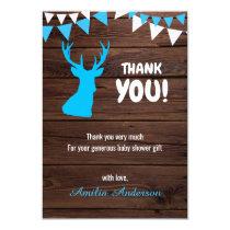 Rustic Buck Theme Boy THANK YOU baby shower Card