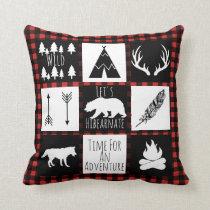 Rustic Buffalo Check Plaid & Wilderness Animals Throw Pillow