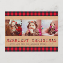 Rustic Buffalo Plaid | 3 Photo Christmas Greeting Holiday Postcard