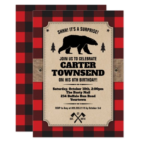 Rustic Buffalo Plaid Bear Kraft Panel Birthday Invitation