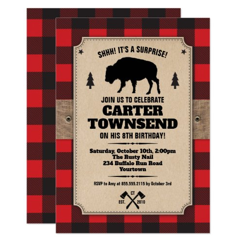 Rustic Buffalo Plaid Bison Kraft Panel Birthday Invitation