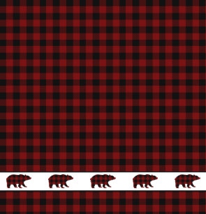 Rustic Buffalo Plaid Grizzly Bears Shower Curtain