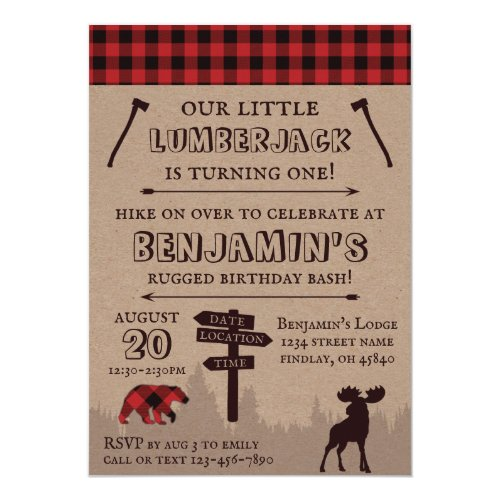 Rustic Buffalo Plaid Lumberjack Birthday Theme Invitation