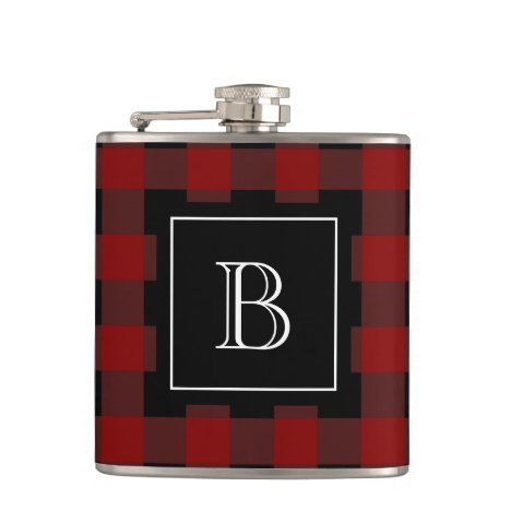 Rustic Buffalo Plaid Lumberjack Monogram Initial Flask