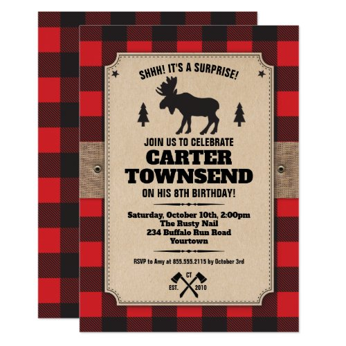 Rustic Buffalo Plaid Moose Kraft Panel Birthday Invitation