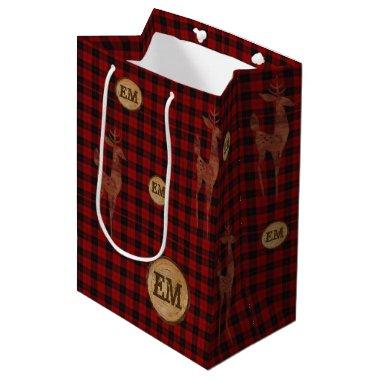 Rustic Buffalo Plaid Stag Monogram RED Checks Medium Gift Bag