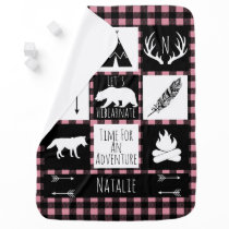 Rustic Buffalo Plaid Wilderness Animals & Name Receiving Blanket
