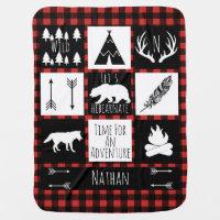 Rustic Buffalo Plaid Wilderness Animals & Name Swaddle Blanket