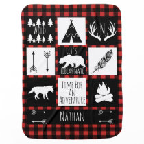 Rustic Buffalo Plaid Wilderness Animals & Name Swaddle Blanket