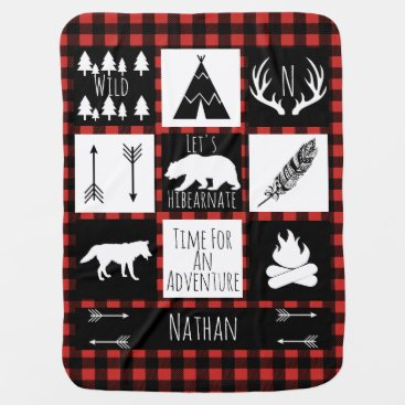 Toddler & Baby themed Rustic Buffalo Plaid Wilderness Animals & Name Swaddle Blanket
