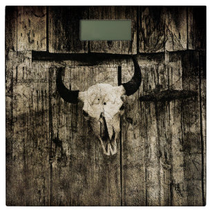 Rustic Buffalo Skull With Horns On A Barn Bathroom Scale