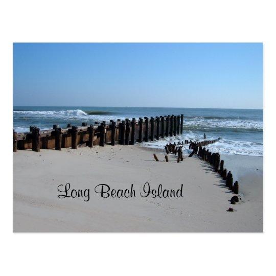Rustic Bulkhead on Beach Postcard