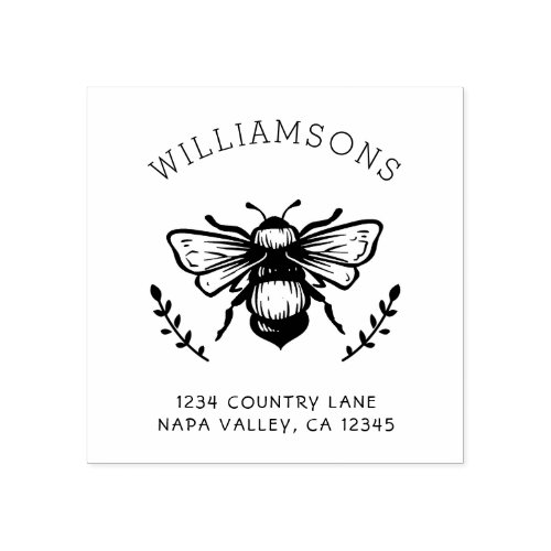 Rustic Bumblebee  Family Name Return Address Rubber Stamp