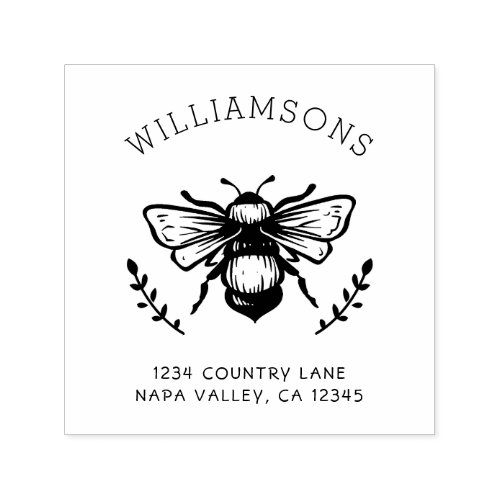 Rustic Bumblebee  Family Name Return Address Self_inking Stamp
