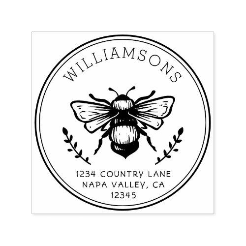 Rustic Bumblebee  Family Name Return Address Self_inking Stamp