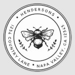 """Rustic Bumblebee Round Return Address Classic Round Sticker<br><div class=""""desc"""">Create Your Own Classic Round Return Address Sticker. For more advanced customization of this design,  Please click the """"Customize"""" button above!</div>"""