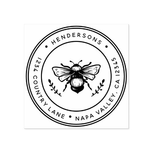 Rustic Bumblebee Round Return Address Rubber Stamp