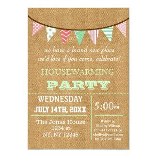 "Rustic Buralp Bunting Housewarming party Invites 5"" X 7"" Invitation Card"