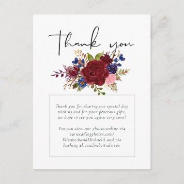 Rustic Burgundy Blue Floral Wedding Postcard