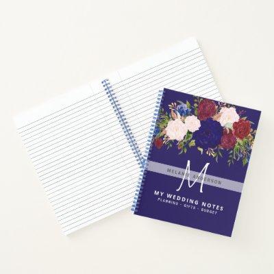 Rustic Burgundy Blue Pink Floral Wedding Planning Notebook
