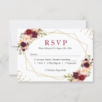 Rustic Burgundy Blush Floral Gold Glitters RSVP