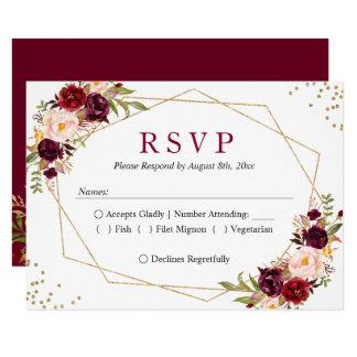 Rustic Burgundy Blush Floral Gold Glitters RSVP Card