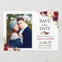 Rustic Burgundy Blush Floral Save the Date Photo