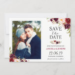 """Rustic Burgundy Blush Floral Save the Date Photo<br><div class=""""desc"""">Rustic Burgundy Blush Floral Save the Date Photo Card (1) For further customization, please click the &quot;customize further&quot; link and use our design tool to modify this template. (2) If you prefer thicker papers / Matte Finish, you may consider to choose the Matte Paper Type. (3) If you need help...</div>"""