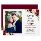 Rustic Burgundy Blush Floral Save the Date Photo Card