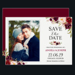 """Rustic Burgundy Blush Floral Save the Date Photo Card<br><div class=""""desc"""">Rustic Burgundy Blush Floral Save the Date Photo Card (1) For further customization, please click the &quot;customize further&quot; link and use our design tool to modify this template. (2) If you prefer thicker papers / Matte Finish, you may consider to choose the Matte Paper Type. (3) If you need help...</div>"""