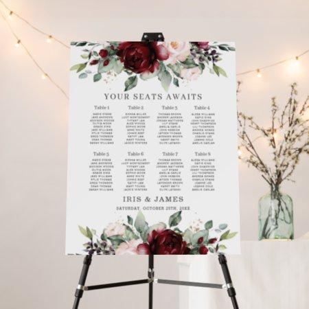 Rustic Burgundy Blush Floral Wedding Seating Chart Foam Board