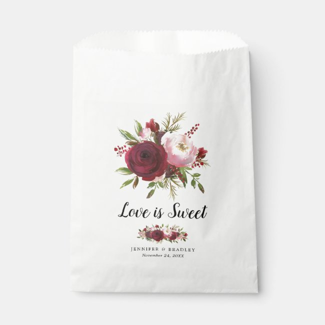 Rustic Burgundy Blush Flowers Wedding Candy Favor Bag
