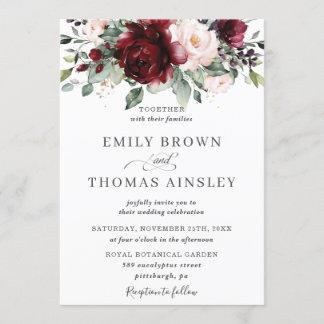 Rustic Burgundy Blush Pink Floral Greenery Wedding Invitation