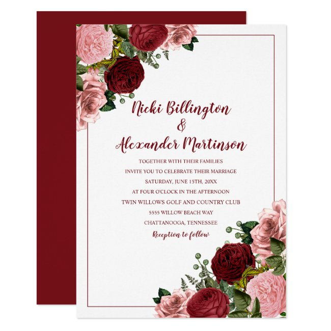 Rustic Burgundy Blush Pink Floral Wedding White Invitation