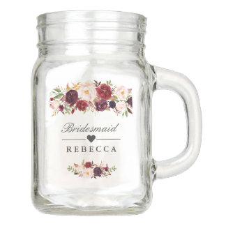 Rustic Burgundy Floral Bridesmaid Wedding Favor Mason Jar