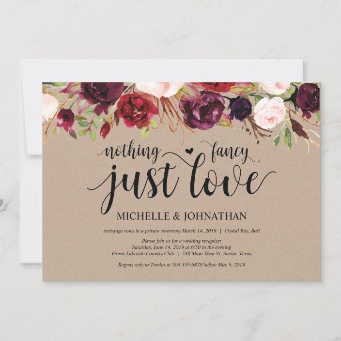 Wedding Reception Invitation Succulent Invitation Boho Invitation Just Married Elopement Reception Invitation Greenery Invitation,