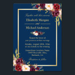 """Rustic Burgundy Floral Gold Navy Blue Wedding Card<br><div class=""""desc"""">================= ABOUT THIS DESIGN ================= Rustic Burgundy Floral Gold Navy Blue Wedding Invitation. (1) For further customization, please click the &quot;Customize&quot; button and use our design tool to modify this template. The background color is changeable. All text style, colors, sizes can also be modified to fit your needs. (2) If...</div>"""