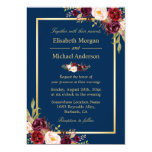 Rustic Burgundy Floral Gold Navy Blue Wedding Card<br><div class='desc'>================= ABOUT THIS DESIGN ================= Rustic Burgundy Floral Gold Navy Blue Wedding Invitation. (1) For further customization, please click the &quot;Customize&quot; button and use our design tool to modify this template. The background color is changeable. All text style, colors, sizes can also be modified to fit your needs. (2) If...</div>