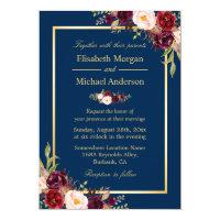 Rustic Burgundy Floral Gold Navy Blue Wedding Card