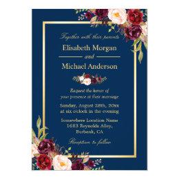 Rustic Burgundy Floral Gold Navy Blue Wedding Card ...