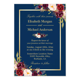 Rustic Burgundy Floral Gold Navy Blue Wedding Card at Zazzle